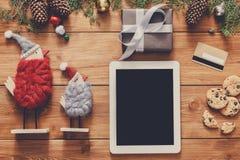 Предпосылка покупок рождества онлайн Стоковые Изображения RF
