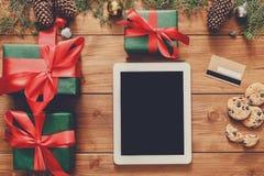 Предпосылка покупок рождества онлайн Стоковые Фото