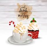 Предпосылка праздника рождества с кофе и пирожным иллюстрация штока