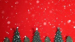 Предпосылка праздника рождества с Сантой и украшениями Ландшафт рождества с подарками и снегом С Рождеством Христовым и счастливы Стоковые Изображения