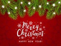 Предпосылка праздника с границей рождественской елки Стоковые Фотографии RF