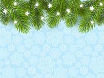 Предпосылка праздника с границей рождественской елки Стоковая Фотография