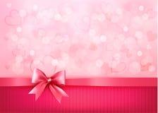 Предпосылка праздника с смычком и тесемкой пинка подарка Стоковые Фото