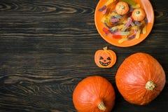 Предпосылка праздника хеллоуина с тыквами Стоковое Изображение
