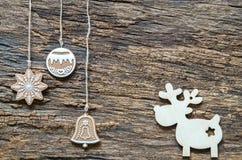 Предпосылка праздников рождества Украшение и северный олень рождества Стоковая Фотография RF