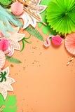 предпосылка праздничная тема тропическая hawaii Партия, день рождения над взглядом Плоское положение стоковые фотографии rf