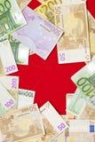 предпосылка представляет счет красный цвет евро Стоковые Изображения