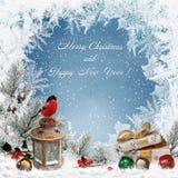 Предпосылка приветствию рождества с космосом для текста, подарков,  Ñ колоколы hristmas, bullfinch, фонарик, ветви сосны и мороз Стоковое Изображение
