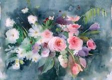 Предпосылка природы акварели Пук маргариток и роз на серой текстурированной предпосылке стоковое фото rf