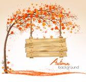 Предпосылка природы осени с деревом и деревянным знаком иллюстрация штока