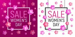Предпосылка продажи рамки дня женщин с бумажными цветками также вектор иллюстрации притяжки corel 8-ое марта Стоковые Фотографии RF