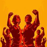 Предпосылка пропаганды плаката революции людей и женщин иллюстрация штока
