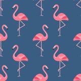 Предпосылка птицы фламинго - ретро безшовная картина в векторе стоковые фотографии rf