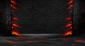 Предпосылка пустого коридора с неоновым светом кирпичной стены и Кирпичные стены, неоновые лучи и зарево стоковая фотография