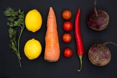 Предпосылка различных овощей и лимона Стоковые Изображения RF