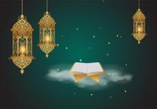 Предпосылка Рамазана Kareem Стиль золотого фонарика арабский Стоковые Фото