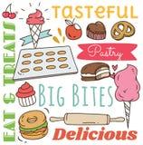 Предпосылка ресторана с различным doodle еды и напитка бесплатная иллюстрация