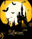 Предпосылка рогульки Halloween с замоком и летучими мышами Стоковая Фотография RF