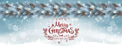 Предпосылка рождества белая с гирляндой ветвей рождественской елки, снежинок, звезд год xmas карточки новый стоковое фото