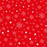 Предпосылка рождества больших и малых снежинок, белая на красном цвете бесплатная иллюстрация