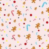Предпосылка рождества вектора безшовная со снеговиками, чулками, шляпами Санта, падубом, коробками, печеньями, апельсинами, снежн бесплатная иллюстрация