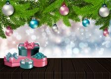 Предпосылка рождества вектора с деревянным столом Стоковые Фотографии RF