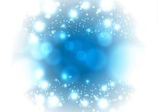 Предпосылка рождества волшебная снежная голубая Накаляя круг снега падения Стоковая Фотография RF