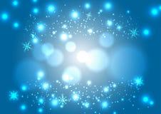 Предпосылка рождества волшебная снежная голубая Накаляя круг снега падения Стоковое Изображение RF