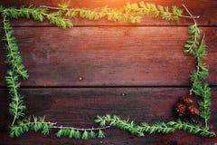 Предпосылка рождества деревянная Ветви ели с конусами ели Взгляд сверху скопируйте космос Стоковое фото RF