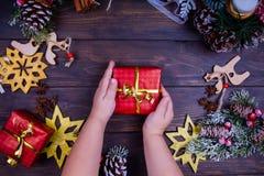 Предпосылка рождества или Нового Года деревянная Стоковая Фотография RF