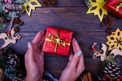 Предпосылка рождества или Нового Года деревянная Стоковые Изображения