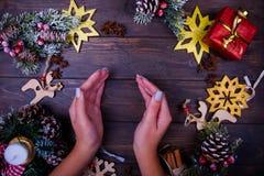 Предпосылка рождества или Нового Года деревянная Стоковое фото RF