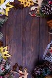 Предпосылка рождества или Нового Года деревянная Стоковое Изображение RF