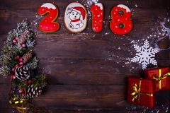 Предпосылка рождества или Нового Года деревянная Стоковые Фото