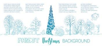 Предпосылка рождества леса вектора Стоковое Фото