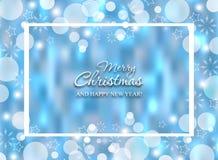 Предпосылка рождества накаляя голубая Яркий блеск конспекта Нового Года праздника Bokeh зимы декоративной запачканное текстурой в иллюстрация вектора