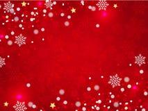 Предпосылка рождества, снежинки Bokeh, красная предпосылка, Стоковое Изображение RF