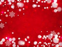 Предпосылка рождества, снежинки Bokeh, красная предпосылка, Стоковая Фотография RF