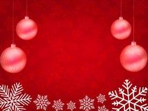 Предпосылка рождества, снежинки Bokeh, красная предпосылка, Стоковое Изображение