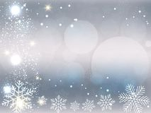 Предпосылка рождества, снежинки Bokeh, серая предпосылка, красный шарик, предпосылка рождественской елки иллюстрация штока