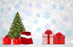 Предпосылка рождества со снегом и деревом стоковое фото rf
