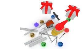 Предпосылка рождества строительства, перевод conposition 3d Стоковая Фотография