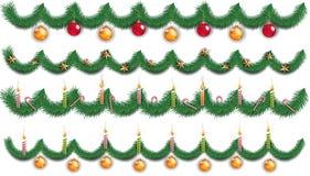 Предпосылка рождества с ветвями ели и шариками игрушки также вектор иллюстрации притяжки corel иллюстрация вектора