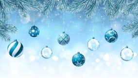 Предпосылка рождества с ветвями ели украшения стоковое фото