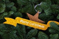 Предпосылка рождества с вечнозеленым деревом Стоковая Фотография
