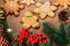 Предпосылка рождества с домодельными печеньями пряника Стоковое Изображение RF