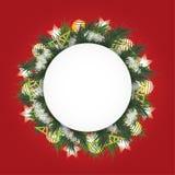 Предпосылка рождества с елью разветвляет в круге, белых шариках, игрушках и сияющих звездах иллюстрация штока