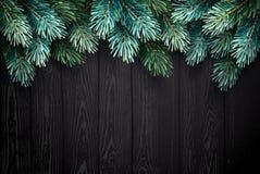Предпосылка рождества с елью разветвляет на черной текстуре Стоковое Изображение