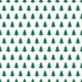 Предпосылка рождества с зелеными деревьями в ряд на белой предпосылке бесплатная иллюстрация