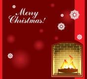 Предпосылка рождества с камином иллюстрация вектора